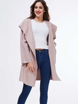 Ericdress Loose Turn Down Solid Color Coat