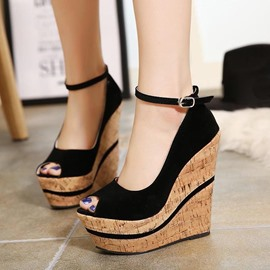 Ericdress Peep Toe Ankle Strap Wedge Sandals