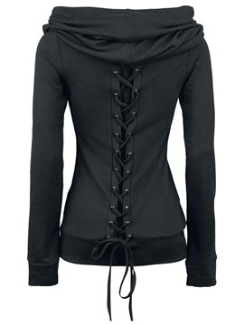 Ericdress Solid Color Slim Heap Lace-Up Hoodie