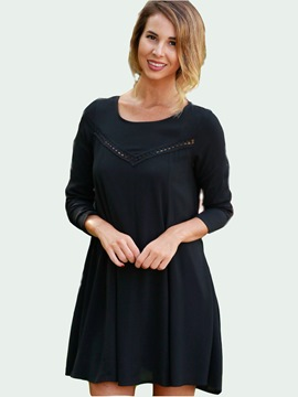 Ericdress Back Hole Scoop Hollow Patchwork Pleated Casual Dress