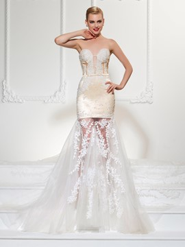 Ericdress Sexy Sweetheart Appliques Mermaid Wedding Dress