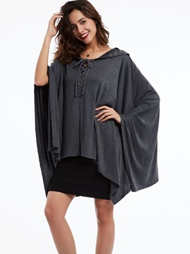 Ericdress Plain Pullover V-Neck Lace-Up Cape
