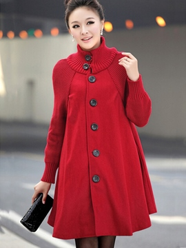 Ericdress Plain Woolen Overcoat