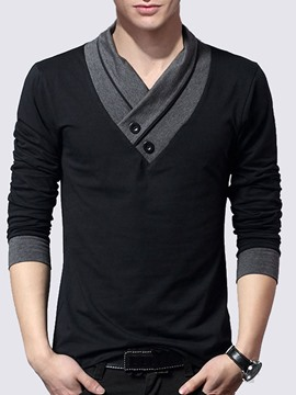 Ericdress Patchwork V-Neck Casual Men's T-Shirt