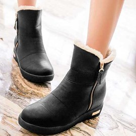 Sweet Round Toe Side Zipper Snow Boots