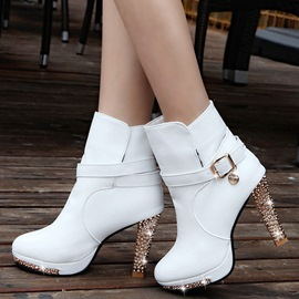 Ericdress Graceful PU Platform Rhinestone High Heel Boots