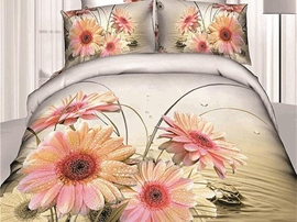 Ericdress Fragrant Flower Print 4-Piece 3D Bedding Sets