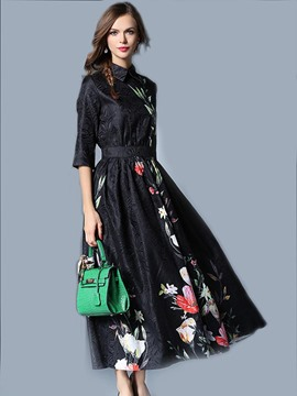 Ericdress Lapel Half Sleeve Embossing Print Maxi Dress