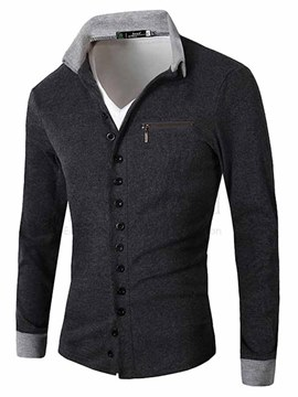 Ericdress Plain Zip Decorated Men's T-Shirt