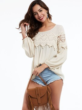 Ericdress Round Neck Appliques Hollow Blouse