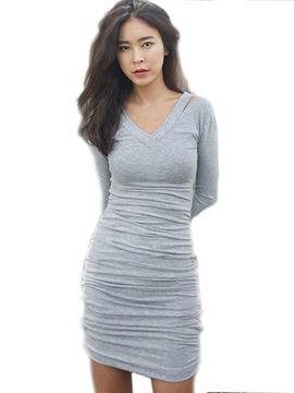 Ericdress Sexy V-Neck Split Pleated Bodycon Dress