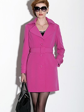 Ericdress European Solid Color Buttons Slim Trench Coat