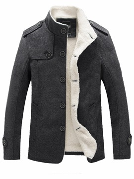 Ericdress Plain Slim Flocking Stand Collar Men's Woolen Coat