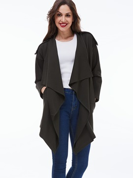 Ericdress European Loose Solid Color Casual Trench Coat