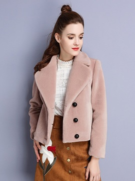 Ericdress Solid Color Single-Breasted Polo Coat