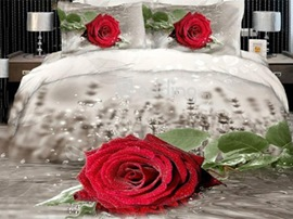 Amazing antique realistic red rose print 4 piece Duvet cover Bedding sets
