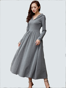 Ericdress Hooded V-Neck Pleated A-Line Maxi Dress