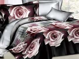 Beautiful Pink Rose Printed 4 Piece Brown Comforter 3D Bedding Sets