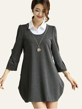 Ericdress Lapel Patchwork Pleated Nine Points Sleeve Bud Above Knee Casual Dress