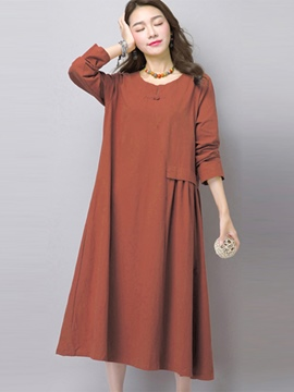 Ericdress Plain Pleated Maxi Dress