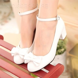 Sweet Bowknot Chunky Heels White Wedding Shoes