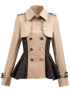 Ericdress Double-Breasted Patchwork Lapel Coat