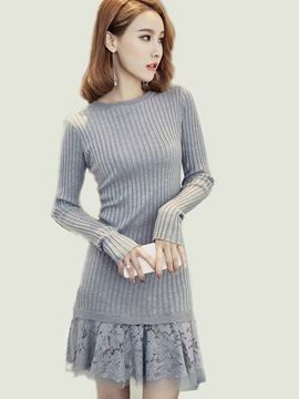 Ericdress Lace Patchwork Knitting Strip Above Knee Sweater Dress