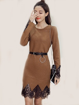 Ericdress Round Collar Lace Paint Splatters Patchwork Belt Bodycon Dress