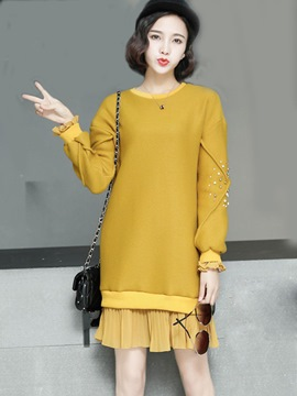 Ericdress Bead Appliques Pleated Patchwork Straight Casual Dress