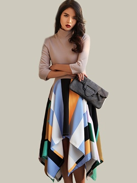 Ericdress Colorful Print Asymmetrical Turtleneck Patchwork Maxi Dress