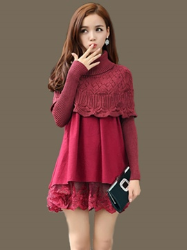 Ericdress Knitting Weave Turtleneck Cappa Lace Patchwork Pleated Casual Dress