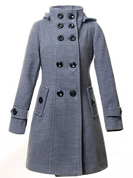 Ericdress Double-Breasted Hooded Coat