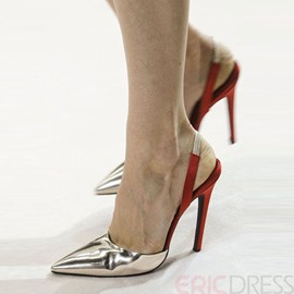 Ericdress Color Block Pointed-Toe Slingback Stiletto Sandals