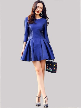 Ericdress Round Collar Pleated Patchwork Nine Points Sleeve Casual Dress