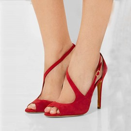 Ericdress Chic Red Suede Peep Toe Stiletto Sandals