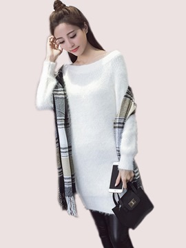 Ericdress Round Collar Knitting Plain Sweater Dress