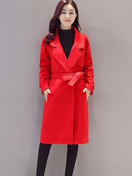 Ericdress Solid Color Slim Belt Lady Coat