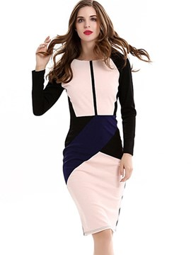 Ericdress Color Block High-Waist Zipper Sheath Dress