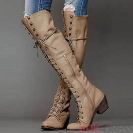 Ericdress Cool Rivets Lace up Thigh High Boots