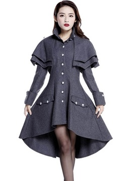 Ericdress Single-Breasted Wave Cut Slim Coat