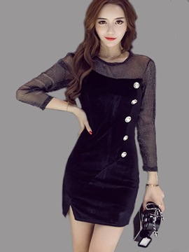 Ericdress Mesh Patchwork Button Round Collar Bodycon Dress