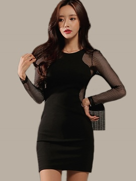 Ericdress Mesh Hollow Back Hole Round Collar Bodycon Dress