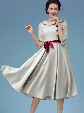 Ericdress Peter Pan Collar Single-Breasted Belt Pleated Casual Dress