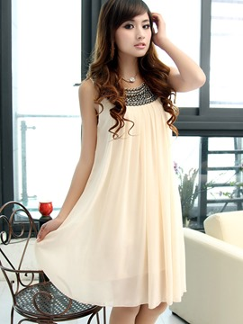 Ericdress Solid Color Pleated A-Line Bead Casual Dress