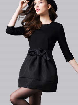 Ericdress Bowknot Patchwork Pleated Above Knee Little Black Dress