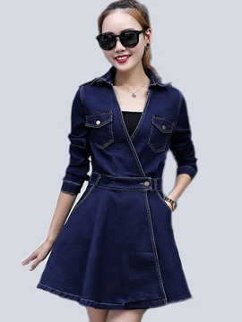 Ericdress Denim Cross Pocket Belt Bead Pleated Casual Dress