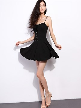 Ericdress Stylish Popular Spaghetti Strap Pure Color Cotton Sexy Dress
