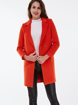 Ericdress Solid Color Straight Lady Coat