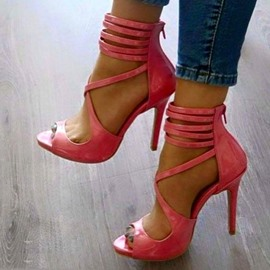 Pink Crossed Strap Stiletto Sandals