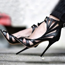 Ericdress Graceful Black Peep-toe Stiletto Sandals
